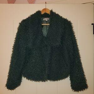 Green teddy coat